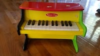 yellow and red electronic keyboard