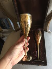 Set Of Two Silver-Plated Goblets With Velvet Box 'Embossed Silver-Plated Woodbridge, 22191