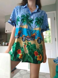 Palm Tree Motorcycle Button Up Shirt North Vancouver