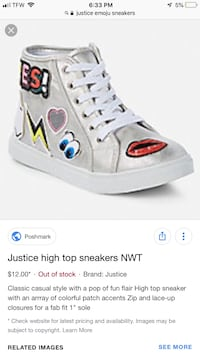 Justice Emoji Print Shoes(Size 1) Girls Odenton, 21113