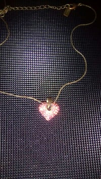 gold and red heart pendant necklace
