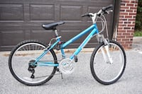Blue and white hardtail mountain bike North Andover, 01845