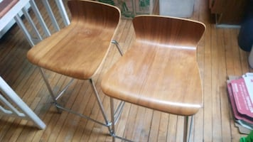 Wood and chrome chairs