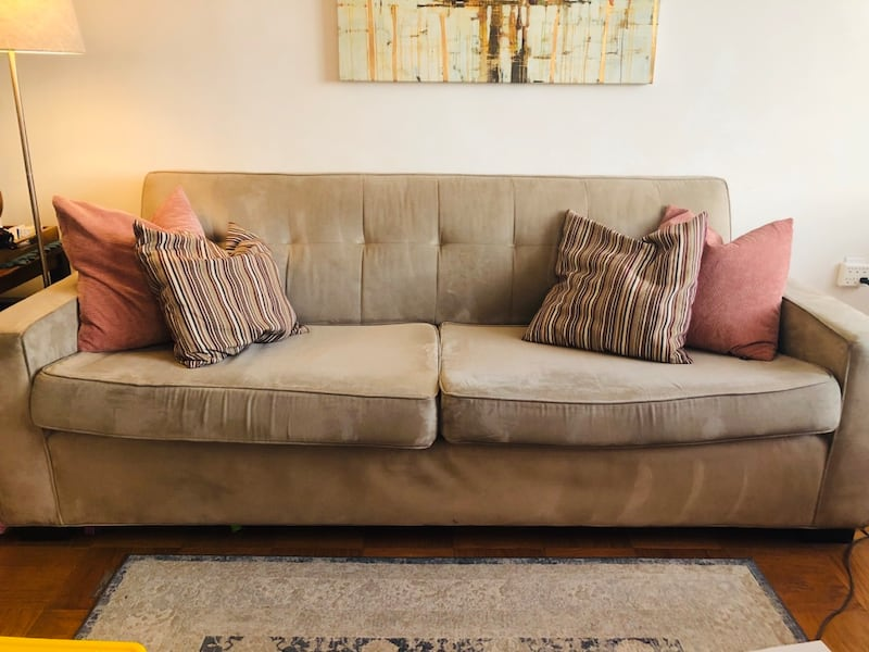 MITCHELL GOLD Sofa and Loveseat CREAM color (used/great condition) c14abab4-b52d-45e5-87e3-3914a03c0475