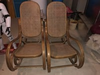 Two brown wooden framed armchairs  Pen Argyl, 18064