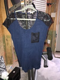 Black and blue lace top - small