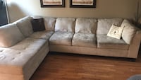 Brown suede sectional sofa with throw pillows Brampton, L6Z 4P3