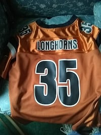 brown and black Texas Longhorns 35 jersey shirt 56 km