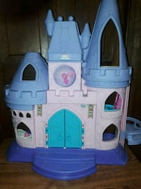 white and blue plastic castle toy Hoover