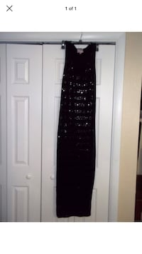 ROMEO & JULIET COUTURE BLACK SEQUIN STRIPED TANK MAXI DRESS
