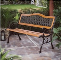 brown wooden bench with black metal frame Glendale, 85304