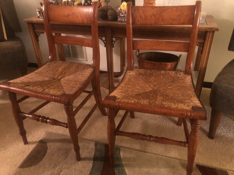 Pair of Maple rush seat chairs 64f5b914-8ad9-45fc-9d27-7ec8cb414a95