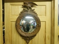 round brown wooden framed wall mirror Dilliner, 15327