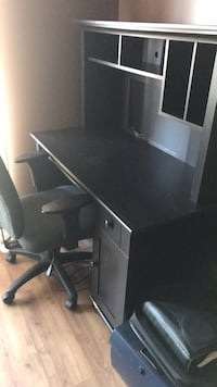black wooden computer desk with hutch Toronto, M3H