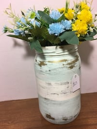 Blue and yellow petaled flowers,blue,white and gold mason jar centerpiece Palmdale, 93550