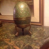 BRASS GREEN ENAMELED EGG WITH 3 FOOTED STAND Toronto, M5A 2P4