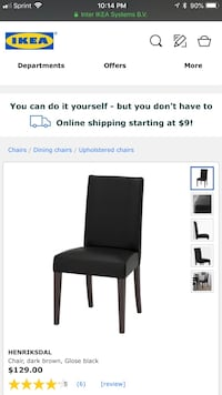 2 ikea Black wooden framed black padded chair screenshot Fairfax, 22033