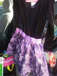 girl's purple and black floral long-sleeved mini dress