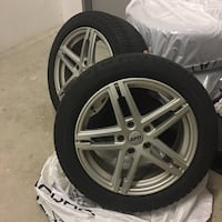 two gray 5-spoke vehicle wheels and tires Vaughan, L4J 9E9