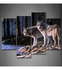 Two Wolves Stand On River Bank Forest Wall Art Painting Pictures Print On Canvas Animal The Picture For Home Modern Decoration  Toronto, M2N 4C1