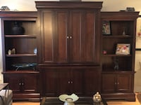 Wall unit, 3 separate pieces, side units have lights on top shelves  Vaughan, L4J 9E6