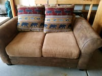 brown rustic loveseat null
