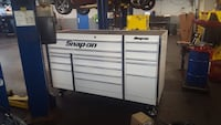 Large white 3 bay snap on toolbox with cover