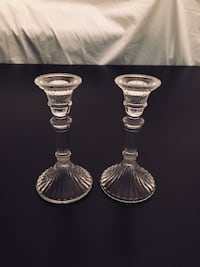"5 1/2""H Pair Pressed Glass Candlesticks = $10 for the pair"