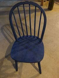 blue and black wooden windsor chair
