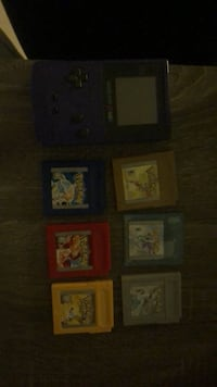 Game boy color and 6 Pokémon games yellow blue red gold silver and crystal Burnaby, V5C 2N3