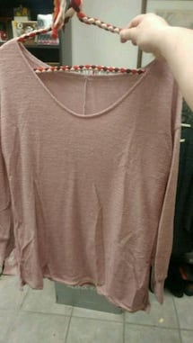 New pink scoop neck long sleeve thin sweater