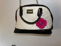 white and black leather handbag Bakersfield