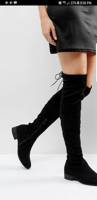 Over the knee high black suede boots