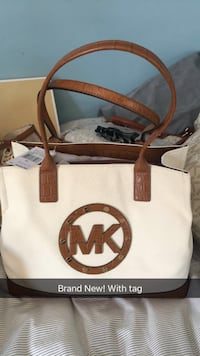 white and brown Michael Kors leather tote bag Carpentersville, 60110