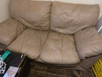 brown leather 3-seat sofa Kansas City, 64127