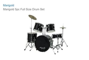5 pc Full Size Black Marigold Drum Set.