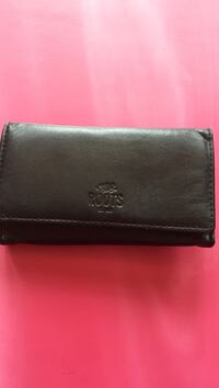 black leather roots bifold wallet