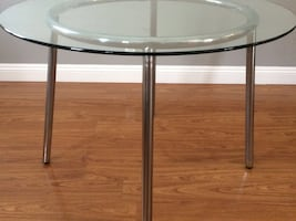 IKEA GLASS ROUND DINING TABLE WITH 4 CHAIRS FOR SALE