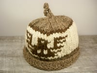 Vintage Cowichan Hat Cap Thick Wool Indian Canada Knitted One Size Maple Grove
