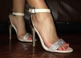 Size 9 / Qupid stilettos with diamond studs on strap