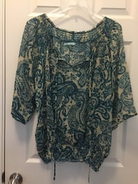 Women's XL - Teal/Cream Sheer Blouse