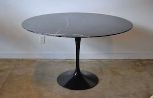 "Original Knoll 60"" Black Marble Tulip Table"