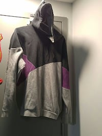 black, gray, and purple pullover hoodie