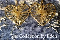 The Collection by Eden Handcrafted Earrings- Gold Heart Dangle  Frederick