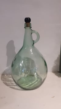 VINTAGE ALMADEN VINEYARDS GREEN GLASS WINE BOTTLE JUG WITH CORK TORONTO