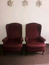 two red suede sofa chairs Cleveland, 44111