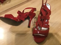 Pair of red leather open-toe ankle strap heels Нью-Йорк, 11214