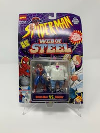 BRAND NEW Vintage Marvel's Spider-Man Web of Steel (Die Cast Metal Miniatures) Spider-Man Vs Kingpin (Card Slightly Bent) Washington, 20016