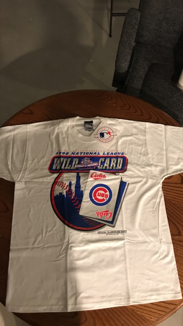Cubs 1998 national league wild card division series(official clubhouse  shirt mlb white crew-neck t-shirt