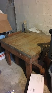 Square brown wooden kids table and chairs